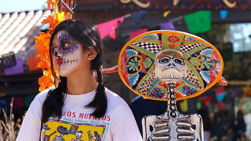 YES international student from Bangladesh experiencing Mexican culture at a Day of the Dead festival in Arizona