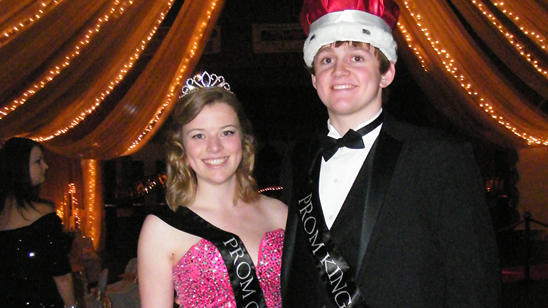 Prom Queen from Belgium with the Prom King at their American high school in Montana