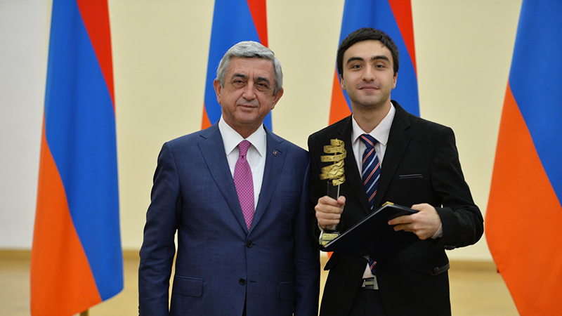 PAX alumnus from Armenia receives Presidential Education Award from President Serzh Sargsyan