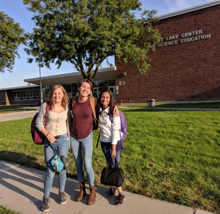 Pakistani Exchange Student with Host Sisters on First Day of School