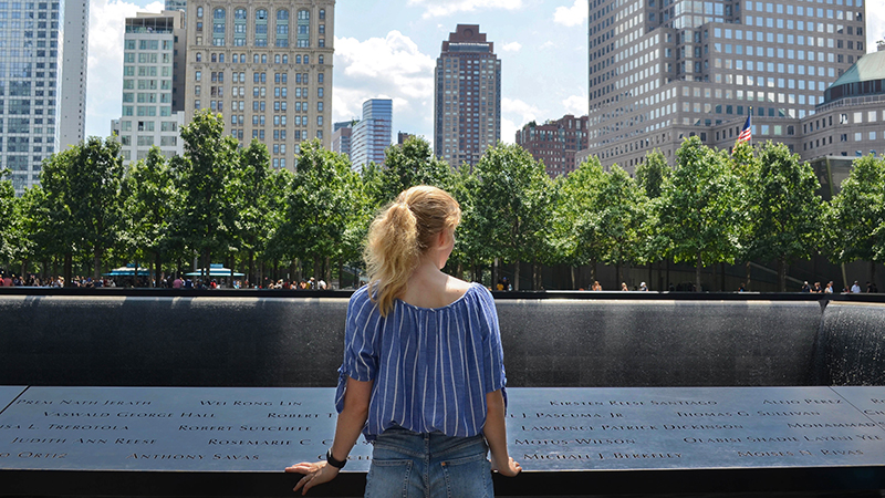 PAX exchange student alumna from Germany reflects at 9/11 Memorial in NYC