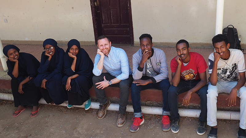 Students at the Abaarso School in Somaliland give the peace sign
