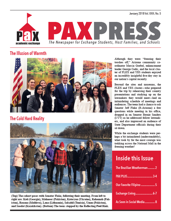 PAX Press January 2018 Cover