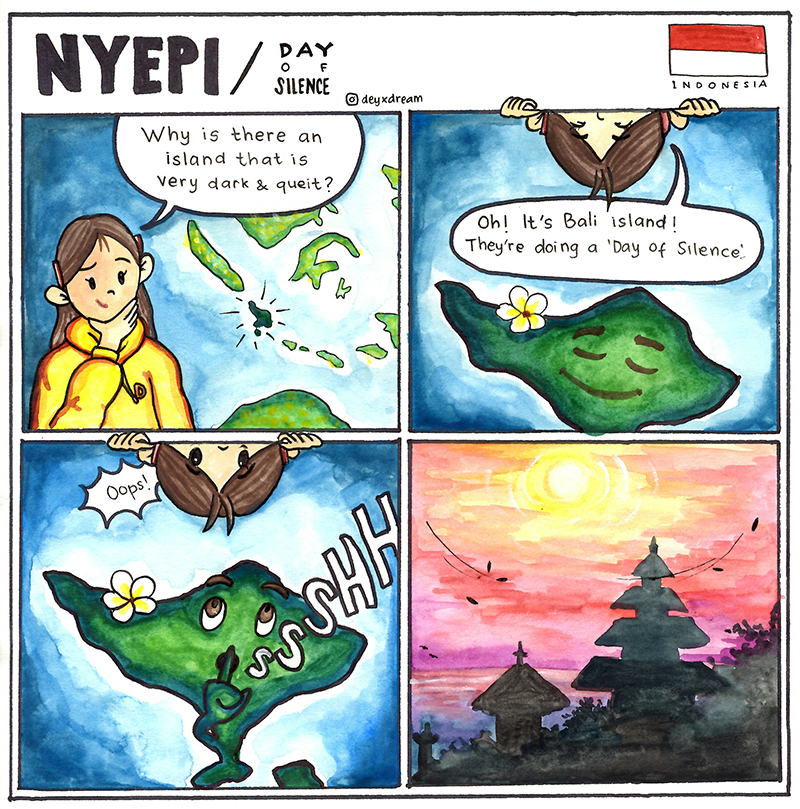 Cultural comic strip about Bali created by Putu, a PAX exchange student from Indonesia