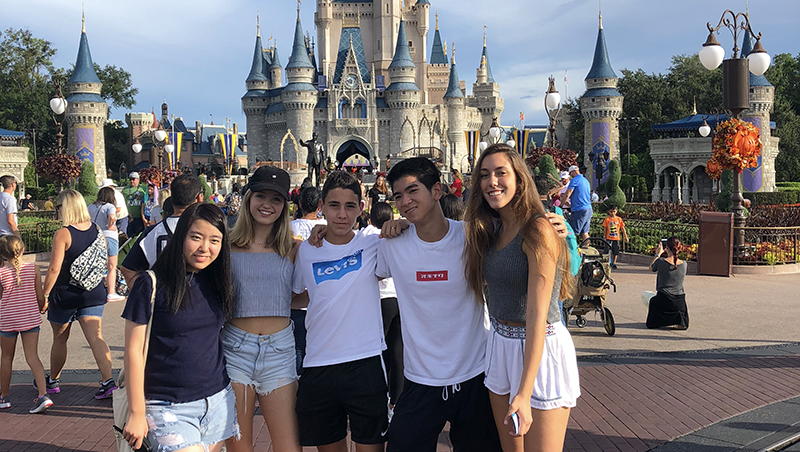 German, Japanese, and Spanish exchange students at Disney World in Orlando
