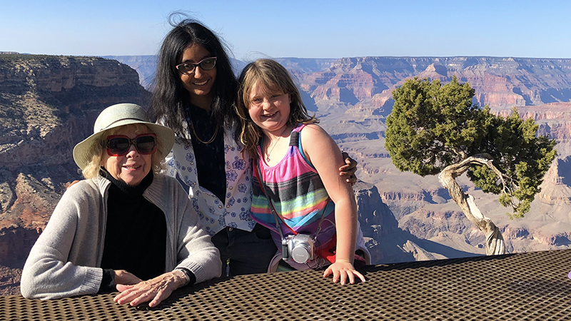 Young woman from India with American host family at Grand Canyon in Arizona