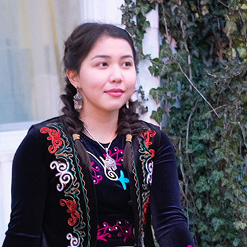 Teenage Girl from Kyrgyzstan Traditional Clothing