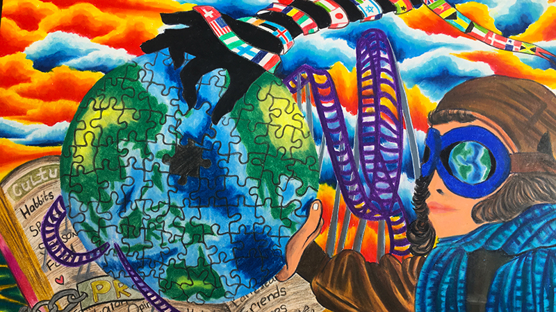 Artwork created by PAX high school student depicting the experiences during an exchange year in the USA