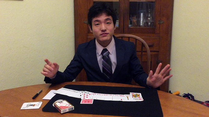 PAX high school exchange student from Japan performing a magic trick in his new home in Indiana